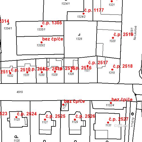 Katastrální mapa Stavební objekt Smíchov 2516, Praha