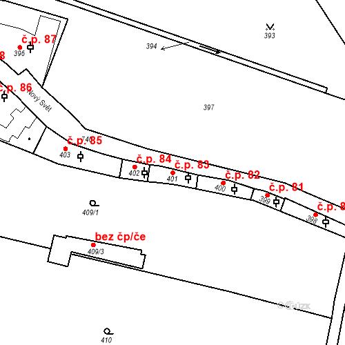 Katastrální mapa Stavební objekt Hradčany 83, Praha