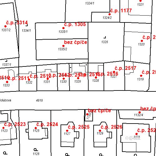 Katastrální mapa Stavební objekt Smíchov 2515, Praha