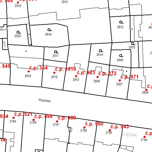 Katastrální mapa Stavební objekt Smíchov 923, Praha