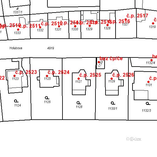 Katastrální mapa Stavební objekt Smíchov 2525, Praha