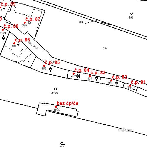 Katastrální mapa Stavební objekt Hradčany 84, Praha