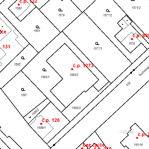 Katastrální mapa Stavební objekt Suchdol 1273, Praha