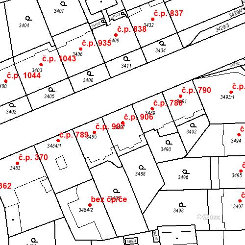 Katastrální mapa Stavební objekt Smíchov 906, Praha