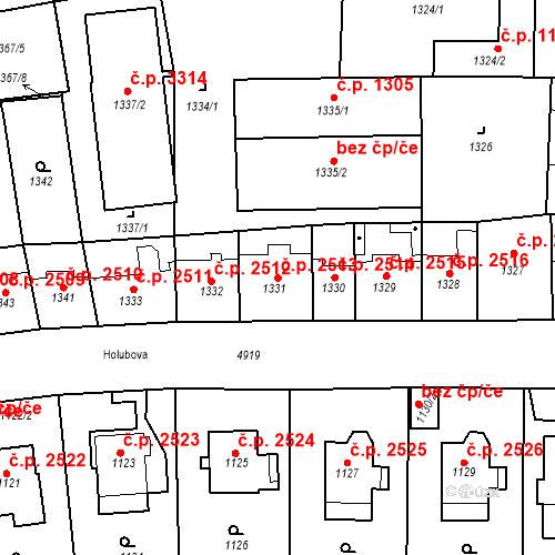 Katastrální mapa Stavební objekt Smíchov 2513, Praha