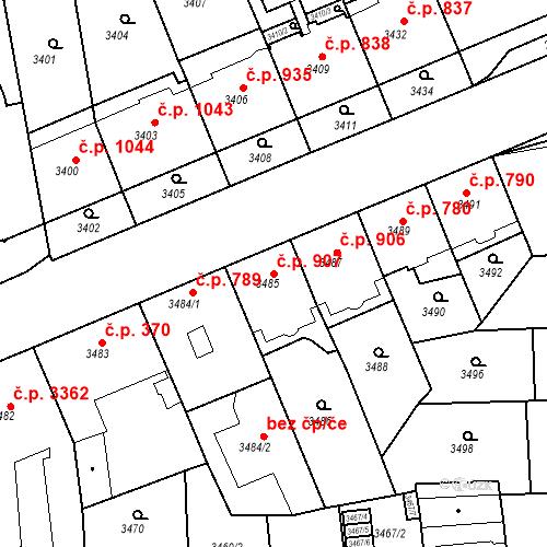 Katastrální mapa Stavební objekt Smíchov 907, Praha