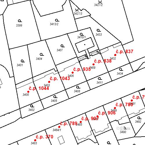Katastrální mapa Stavební objekt Smíchov 935, Praha