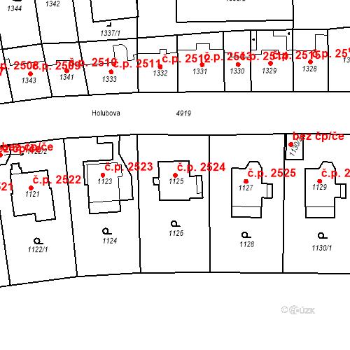 Katastrální mapa Stavební objekt Smíchov 2524, Praha