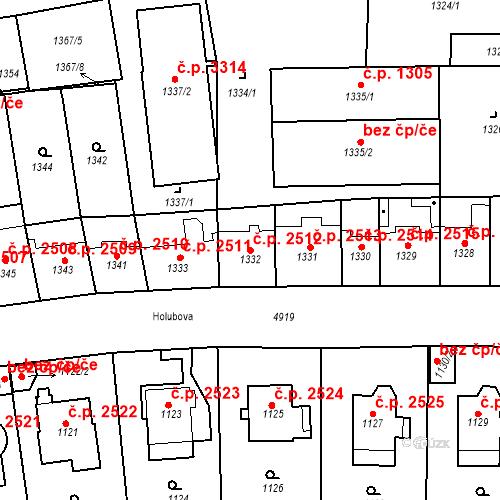 Katastrální mapa Stavební objekt Smíchov 2512, Praha