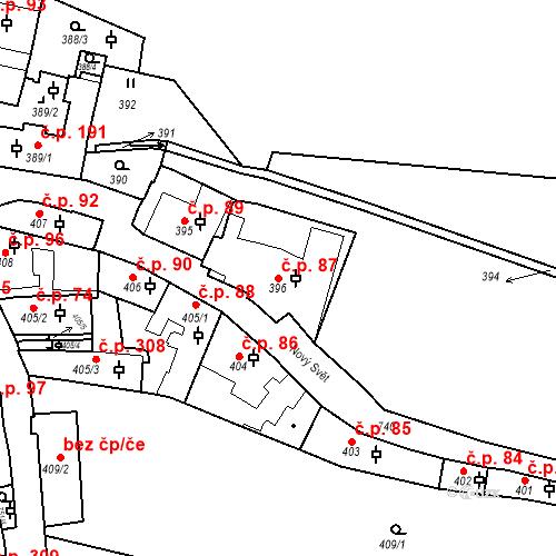 Katastrální mapa Stavební objekt Hradčany 87, Praha