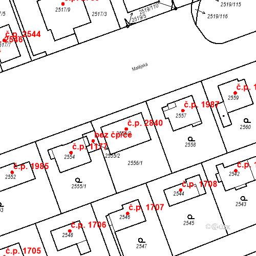 Katastrální mapa Stavební objekt Dejvice 2496, Praha
