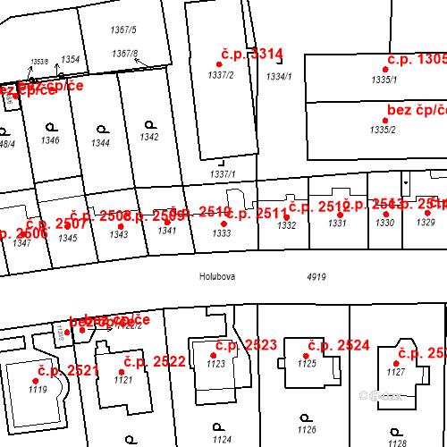 Katastrální mapa Stavební objekt Smíchov 2511, Praha