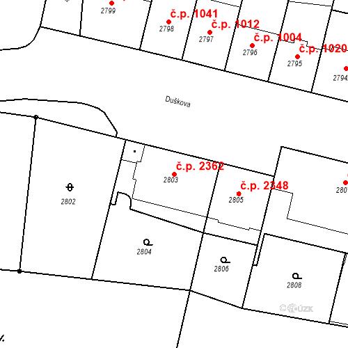 Katastrální mapa Stavební objekt Smíchov 2362, Praha