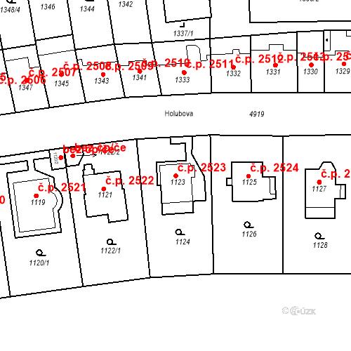 Katastrální mapa Stavební objekt Smíchov 2523, Praha