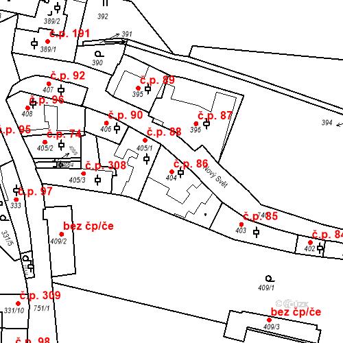 Katastrální mapa Stavební objekt Hradčany 86, Praha
