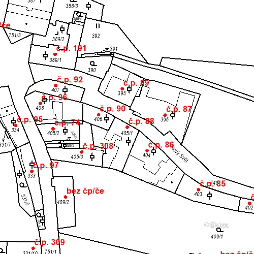 Katastrální mapa Stavební objekt Hradčany 88, Praha