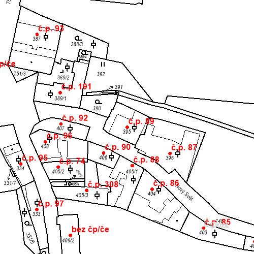 Katastrální mapa Stavební objekt Hradčany 89, Praha