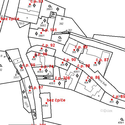 Katastrální mapa Stavební objekt Hradčany 90, Praha