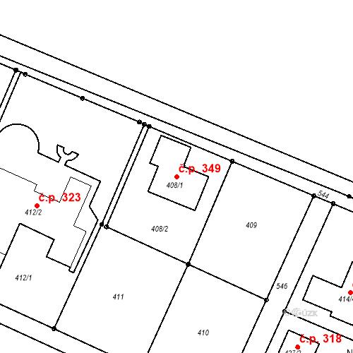 Katastrální mapa Stavební objekt Radlice 349, Praha