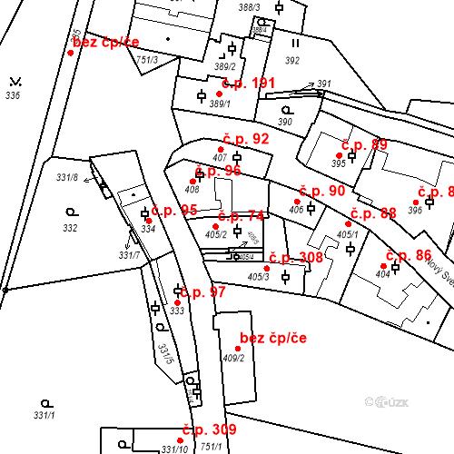 Katastrální mapa Stavební objekt Hradčany 74, Praha