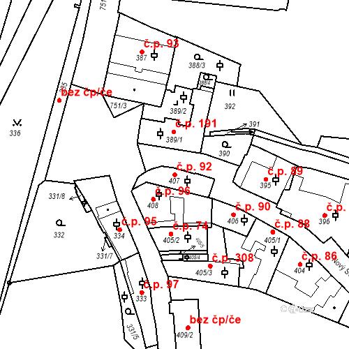 Katastrální mapa Stavební objekt Hradčany 92, Praha