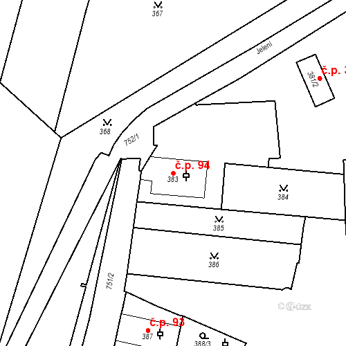 Katastrální mapa Stavební objekt Hradčany 94, Praha
