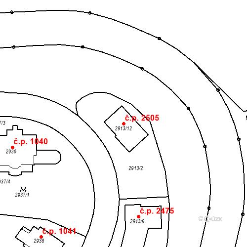Katastrální mapa Stavební objekt Dejvice 2505, Praha