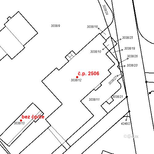 Katastrální mapa Stavební objekt Dejvice 2506, Praha