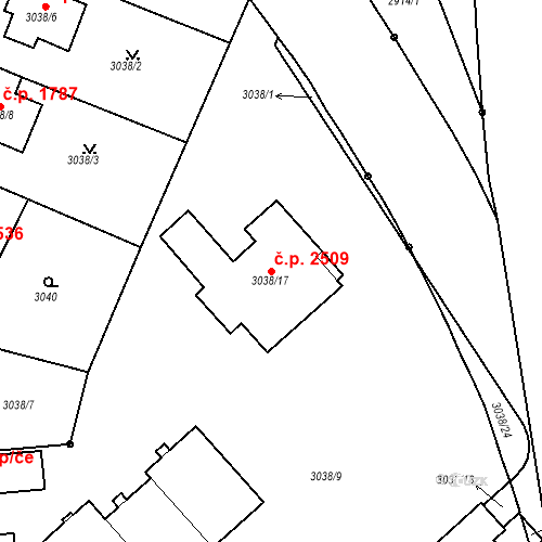 Katastrální mapa Stavební objekt Dejvice 2509, Praha