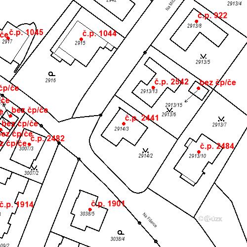 Katastrální mapa Stavební objekt Dejvice 2441, Praha