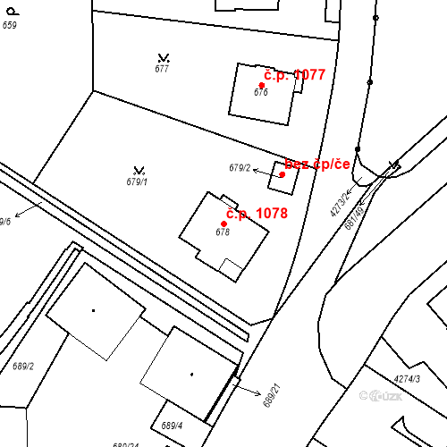 Katastrální mapa Stavební objekt Dejvice 1078, Praha