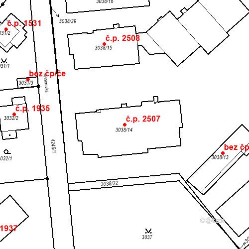 Katastrální mapa Stavební objekt Dejvice 2507, Praha
