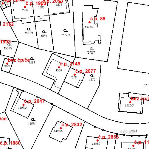 Katastrální mapa Stavební objekt Smíchov 2077, Praha