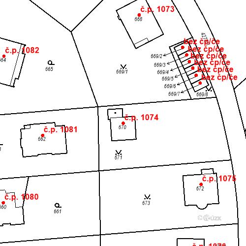 Katastrální mapa Stavební objekt Dejvice 1074, Praha