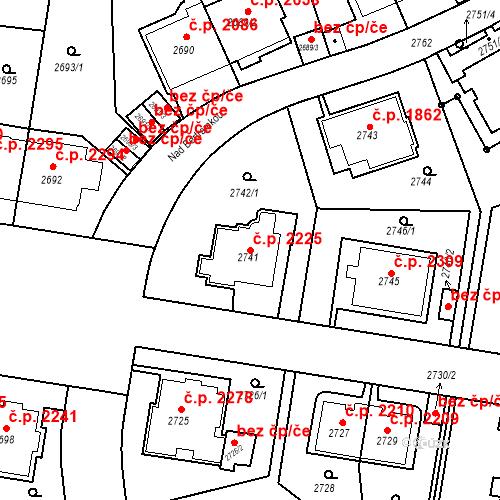 Katastrální mapa Stavební objekt Smíchov 2225, Praha