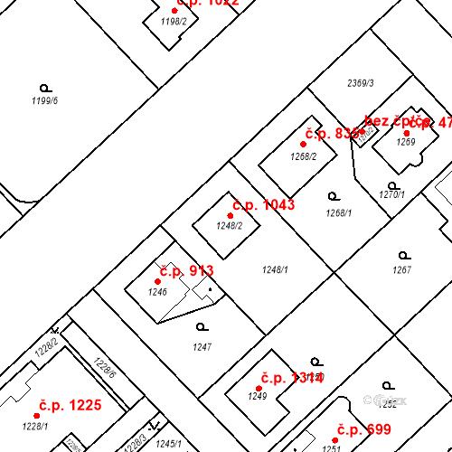 Katastrální mapa Stavební objekt Suchdol 1043, Praha