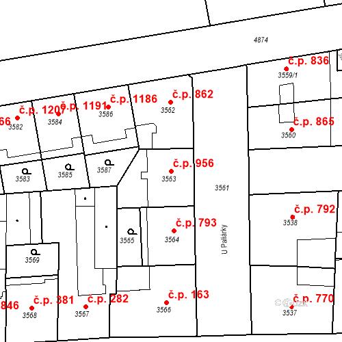 Katastrální mapa Stavební objekt Smíchov 956, Praha