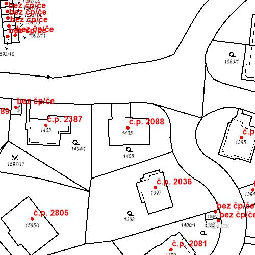 Katastrální mapa Stavební objekt Smíchov 2088, Praha