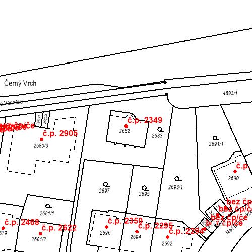 Katastrální mapa Stavební objekt Smíchov 2349, Praha