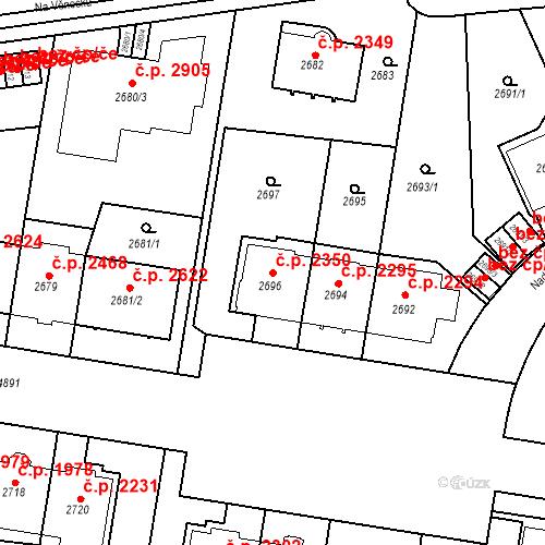Katastrální mapa Stavební objekt Smíchov 2350, Praha