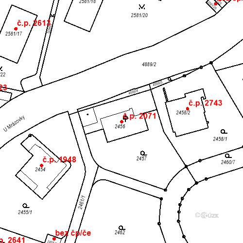 Katastrální mapa Stavební objekt Smíchov 2071, Praha