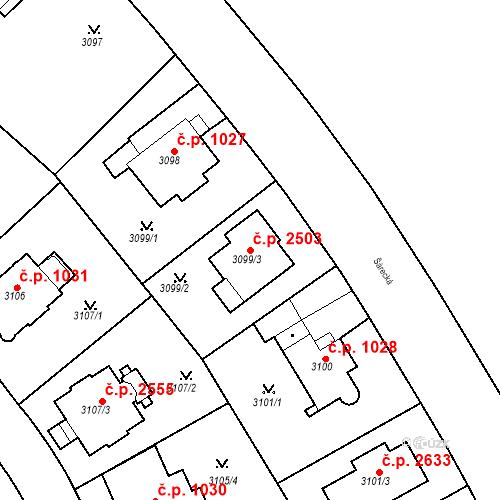 Katastrální mapa Stavební objekt Dejvice 2503, Praha