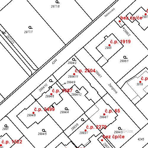 Katastrální mapa Stavební objekt Dejvice 2504, Praha
