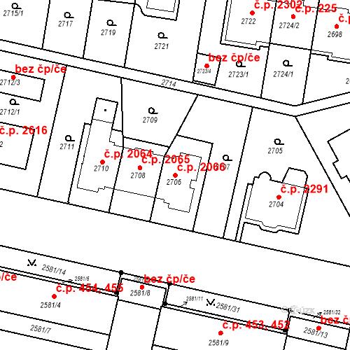 Katastrální mapa Stavební objekt Smíchov 2066, Praha