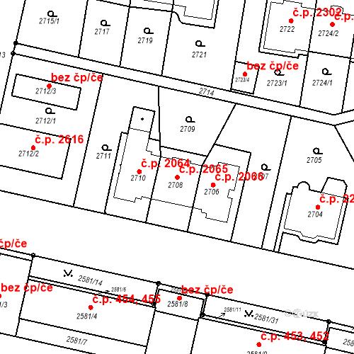 Katastrální mapa Stavební objekt Smíchov 2065, Praha