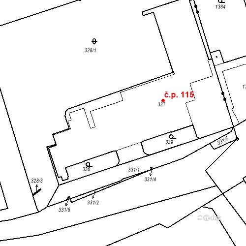 Katastrální mapa Stavební objekt Radlice 115, Praha