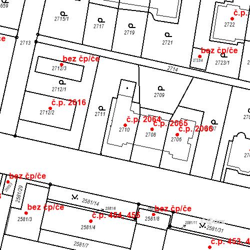 Katastrální mapa Stavební objekt Smíchov 2064, Praha