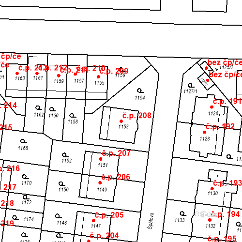 Katastrální mapa Stavební objekt Střešovice 208, Praha