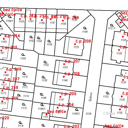Katastrální mapa Stavební objekt Střešovice 207, Praha