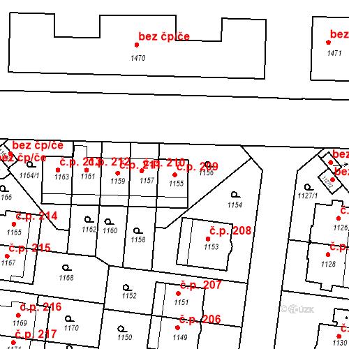 Katastrální mapa Stavební objekt Střešovice 209, Praha